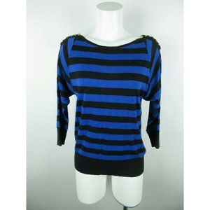 Michael Kors Cotton Chained Striped 3/4 Sweater